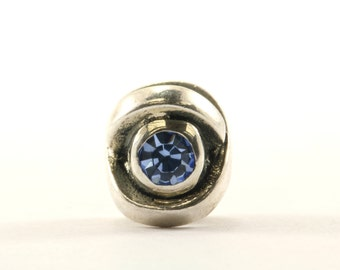 Vintage Criss Cross Blue Crystal Bead Charm Sterling 925 CH 319