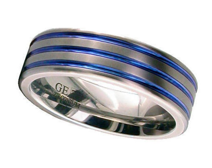 Flat Court Titanium Wedding Ring With 3 Anodised Coloured Grooves - Made to Order - FREE ENGRAVING