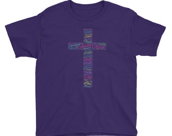 Colorful Cross Jesus Christ Christian Word Cloud Youth Short Sleeve T-Shirt