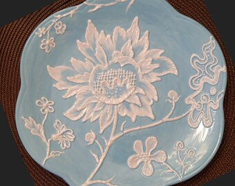 """Blue """"Brush Embroidery"""" Ceramic Plate by Colette Peters"""
