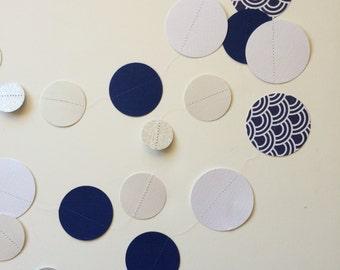 Navy Scallops Paper Garland, blue garland, navy blue garland, modern wedding, modern nursery, boy nursery, blue nursery, blue baby shower