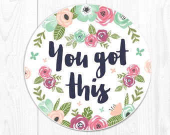 Mouse Pads Mint Mousepads Floral Mouse Pad You Got This Office Supplies Coworker Office Desk Accessories Cubicle Decor Office Decor