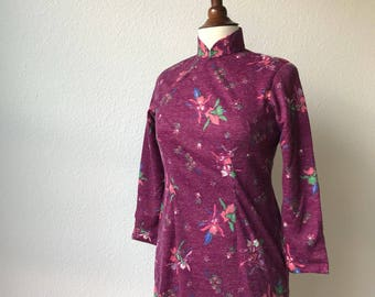 Vintage wool long sleeve mauve qipao dress sz S