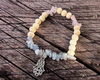 Bracelet elastic women - hand of Fatima - aquamarine - rose Quartz - natural stones - minerals - Zen - Hippie - gems - crystals