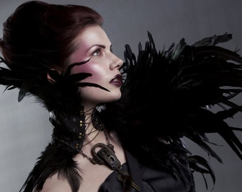 Couture Black Feather Neck Corset