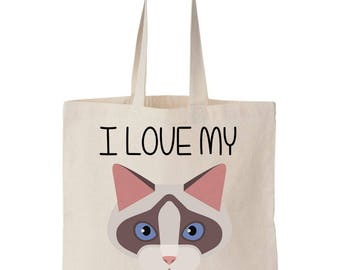 I Love My Ragdoll Cat Canvas Tote Bag