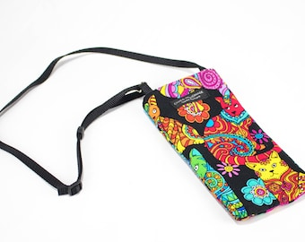 Cool Cat fabric Eyeglass Reader Case -with adjustable neck strap lanyard