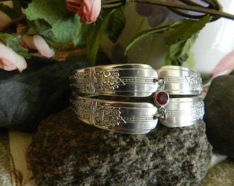 Birthstone Bracelet, Double Band Spoon Bracelet, Charm Bracelet, Silverware Bracelet, Silverware Jewelry, Silver Plated Jewelry (B71)