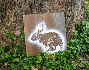 Rabbit Painting on Reclaimed Wood