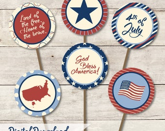 4th of July Cupcake Toppers/Tags Printable