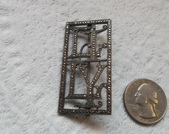 """Lovely Antique Art Deco Silver and Sparkly Marcasite  Pin/Brooch  """"LILY"""""""
