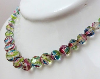 Vintage Art Deco Graduated Crystal Rainbow Glass Faceted Bead Necklace In Rich Pastel Hues