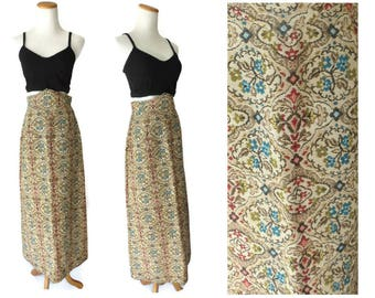 Tapestry Maxi Skirt 60s 1960s Woven Embroidered Folk Skirt Size Small S High Waist High Waisted
