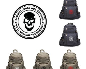 God Will Judge Our Enemies Punisher with Skulls Sport Heavyweight Canvas Backpack Bag