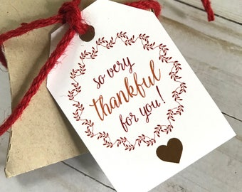 DIY PRINTABLE Tags  |  So Very Thankful For You  |  Printable Thanksgiving Gift Tags | Holiday Gift Tags | Give Thanks Gift Tags