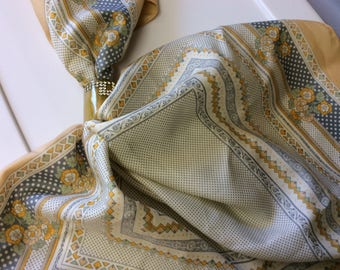 Golden Yellow, Blue , and Cream, polka Dots, flowers, Geometric designs, Borders, Polyester, Fashion, Neck Scarf
