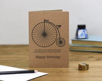 Penny Farthing Funny Birthday Card