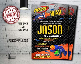 Nerf Invitation, Nerf Birthday, Nerf Party, Nerf Card, Nerf Printable, Nerf Gun Invitation, Nerf Gun Birthday, Nerf Gun, Boy Invites_BF1236