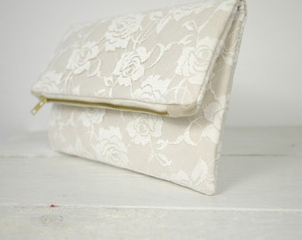 Ivory rose lace clutch, fold over lace clutch | Ivory Bridal Lace Purse | Wedding Clutch in Ivory Lace