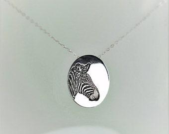 Zebra Pendant, Zebra Necklace, Silver Zebra Necklace, Animal Necklace, Zebra Jewelry, Zebra, Zebra Jewelry Set, Zebra Sterling Pendant