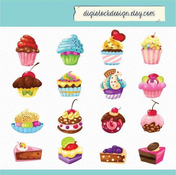 Stylish Sweet Cake Clipart Food Illustration 16 Colorful