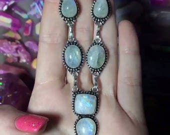 925 Stamped Blue Green Rainbow Moonstone Multistone Necklace