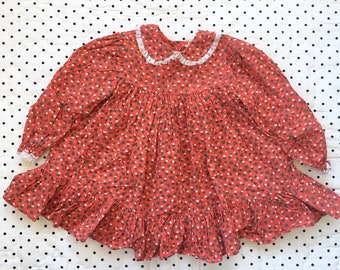 Vintage Bryan Red Floral Ruffle Dress Girls Sz 18 24 months 2T