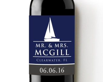 Sailboat Custom Wine Labels - Nautical Wedding - Beach Theme Wedding Favor or Gift- WEATHERPROOF and REMOVABLE - Wine Bottle Labels