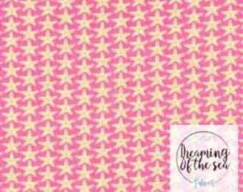 Timeless Treasures Pink/Yellow Starfish Fabric // Quilting Cotton // Cotton Woven // 100% cotton // Starfish Fabric