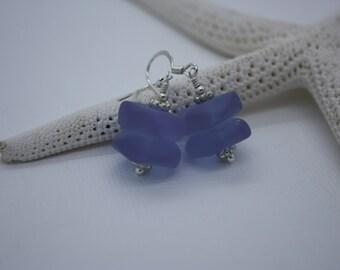 Purple Sea Glass Earrings, Seaglass Earrings, Beach Glass Earrings, Sea Glass Jewelry Seaglass Jewely Bridal Beach Wedding Ocean Jewelry 090