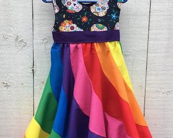 Rainbow Peppermint Swirl Dress with Sugar Skull print bodice Size 3t