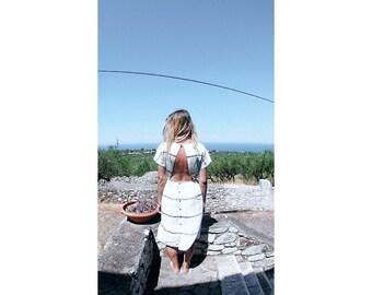White dress, dress with stripes, open back dress, midi dress, summer dress, romantic dress, cotton dress, lightweight dress, elegant dress.