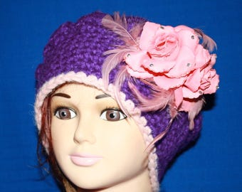 Purple beret with pink, very very warm