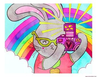 Bunny Rainbow Snapshots  8 x 10 Illustration Print