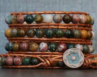 jasper wrap bracelet- ocean jasper on copper leather - boho beaded southwest bohemian gypsy - mens or womens fall fashion multicolor