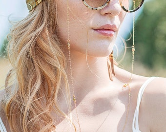 Gold plated stainless steel chain and 24K gold plated links sunglasses chain - festival trendy bohemian sunglasses chain hanger