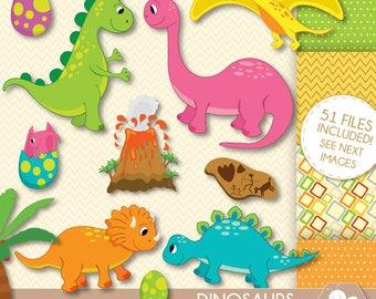 Dinosaur Clipart, Dinosaurs Clip Art, Baby Dinosaur, Stegosaurus, Triceratops, pterodactyl Egg, Volcano, Rex, prehistoric, CL0040