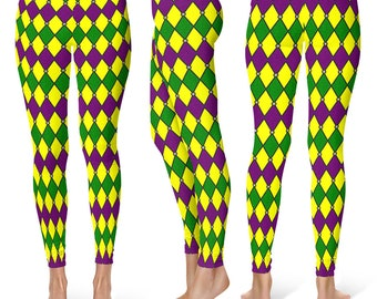Mardi Gras Costumes, Jester Leggings Tights in Purple, Green and Gold Harlequin Pattern