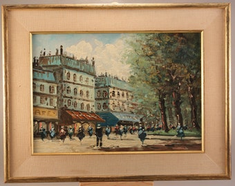 Mid-20th Century French Impressionist Street Scene Oil Painting