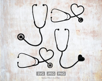 Stethoscope Variety Pack - Vector Images - SVG, PNG, JPEG, ai, Nurse, Doctor, Healthcare, Hospital, Cut File, Cricut, Silhouette, Download
