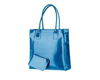 Blue Leather Bag Women's handbag Italian leather handbags Shopper Shoulder Cow tote Cowhide purse and Wallet