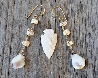 Long Dangle Beach Boho Earrings, Rustic Long Drop Stone Earrings,  Beachy Gift for Girlfriend Wife Mom, Nature Lover Free spirit Gift
