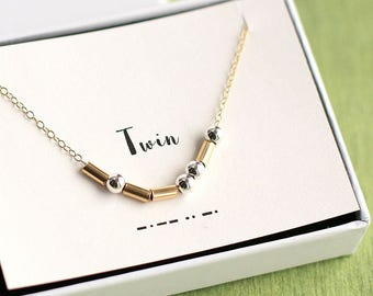 Twin Morse Code Necklace, Twin Necklace, Sisters Necklace, Twin Sister Necklace, Gift for Sister, Sister Gifts, Twin Gift, Sorority Necklace