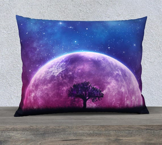 galaxy cushion cover, moon throw pillow, tree of life, fantasy tree, space pillow, toss pillow, pillow case, large pillow, fantasy art