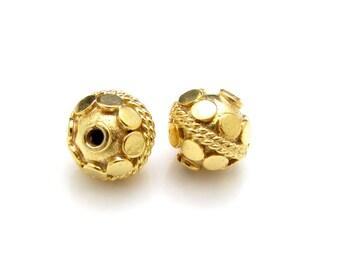 1 Pc, 7mm, 24K Gold Vermeil Bead