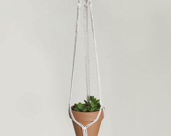 Small Macrame Plant Hanger | Natural White Cotton Cord | 3 Strand Indoor Hanging Planter | Plant Pot Holder | Boho Decor