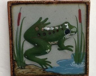 Frog Wall Tile~Made in Mexico~Pond Scene~Dimensional Frog~Nature Tile~Gift for Outdoorsman or Boy~Frog and Cattails~Unusual Tile~Great Shape