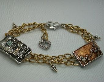 Gold & Silver Shopping Girl Bracelet, I Love Shopping Bracelet