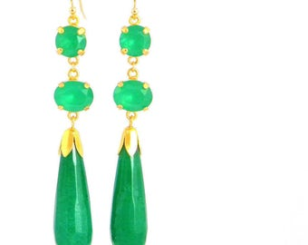 Jade Green Long Art Deco Earrings