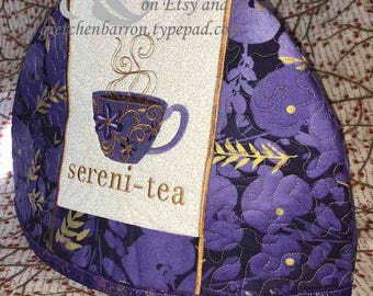 Purple and Gold Sereni-Tea -- Embroidered and Insulated Tea Cozy
